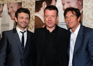 Peter Morgan with Michael Sheen and Dennis Quaid