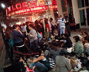 Hunger Games audience lines up outside New York theater