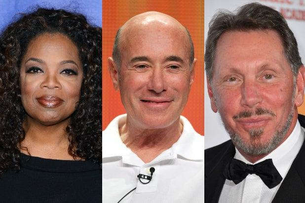 Oprah Winfrey, David Geffen, Larry Ellison (Getty Images)