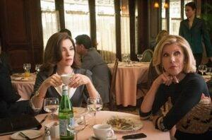Julianna Margulies and Christine Baranski in The Good Wife Season 6 opener