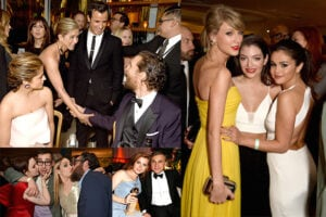 "Jennifer Aniston greets Matthew McConaughey; the three hottest young female pop artists team up at HBO (Taylor Swift, Lorde, and Selena Gomez); Amy Adams shares her win with Christoph Waltz at The Weinstein party; and the ""GIrls"" kiss their boys. (Getty Images)"
