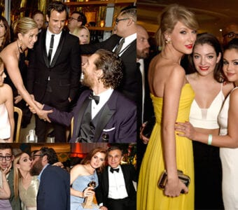 """Jennifer Aniston greets Matthew McConaughey; the three hottest young female pop artists team up at HBO (Taylor Swift, Lorde, and Selena Gomez); Amy Adams shares her win with Christoph Waltz at The Weinstein party; and the """"GIrls"""" kiss their boys. (Getty Images)"""