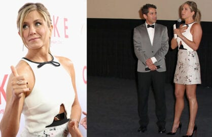 "Aniston gives thumbs up to ""Cake"", and thanks director Dan Barnz inside the Arclight on Wednesday night. (Getty Images; Ari Perilstein/Getty Images)"