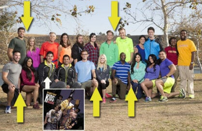 "Five ""Blind Date"" couples and ""New Kid on the Block"" Jonathan Knight highlight the new cast of ""The Amazing Race"". (Monty Brinton/CBS; NKOTB.com)"
