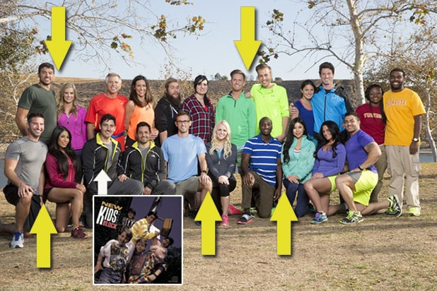 """Five """"Blind Date"""" couples and """"New Kid on the Block"""" Jonathan Knight highlight the new cast of """"The Amazing Race"""". (Monty Brinton/CBS; NKOTB.com)"""