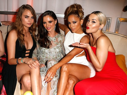 Cara Delevingne, designer Georgina Chapman, entertainer Jennifer Lopez and singer Rita Ora (Jeff Vespa/Wireimage)