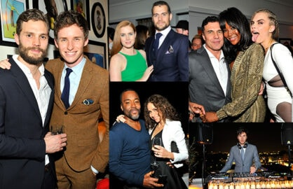 Jamie Dornan and Eddie Redmayne;  Amy Adams and Henry Cavill;  Andres Balasz, Naomi Campbell, and Cara Delavigne; Lee Daniels and Minnie Driver. (Donato Sardella/Getty Images for W Magazine))
