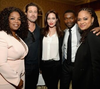 """Brad Pitt sat with the """"Unbroken"""" table at the AFI Awards Lunch, but merged his two film families afterwards."""