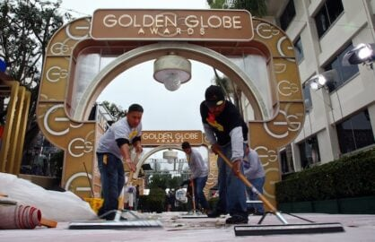setup for the Golden Globes