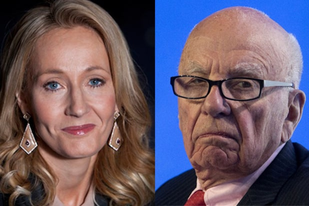 British author J.K. Rowling is pictured with News Corp. Chief Rupert Murdoch