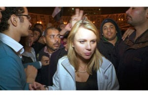CBS's Lara Logan on assignment in Egypt the day of her attack, Feb. 11, 2011