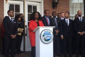 Oprah Winfrey, John Legend and Common in Selma. Credit: Hannah Lane/WSFA