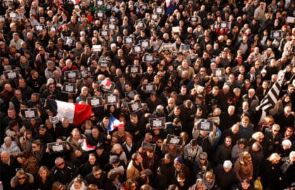 Demonstrators take part in a Unity rally 'Marche Republicaine' on January 11, 2015 in Beaucaire, France. (Photo by Patrick Aventurier/Getty Images)