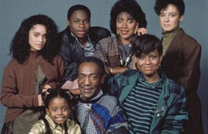 THE COSBY SHOW -- Pictured: (back row, l-r) Lisa Bonet as Denise Huxtable, Malcolm-Jamal Warner as Theodore 'Theo' Huxtable, Phylicia Rashad as Clair Hanks Huxtable, Sabrina Le Beauf as Sondra Huxtable Tibideaux, (front row, l-r) Keshia Knight Pulliam as Rudy Huxtable, Bill Cosby as Dr. Heathcliff 'Cliff' Huxtable, Tempestt Bledsoe as Vanessa Huxtable (Photo by Alan Singer/NBC/NBCU Photo Bank via Getty Images)