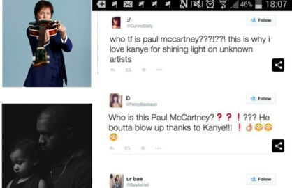 Paul McCartney, Kanye West with daughter (Twitter)
