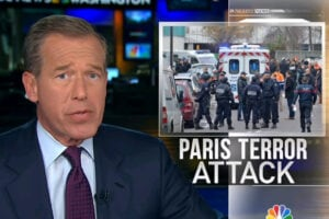 Brian Williams reports on Paris terror attacks on newspaper Charlie Hebdo for NBC Nightly News