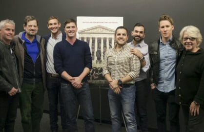 "Composer Blake Neely and guest, filmmakers Ben Cotner and Ryan White, Jeff Zarrillo and Paul Katami, Dustin Lance Black and editor Katie Amend attend TheWrap's screening of ""The Case Against 8."""