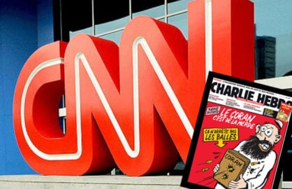 CNN logo, one of the Charlie Hebdo cartoons that prompted attack