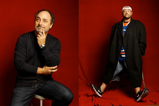 """Misery Loves Comedy"" stars Kevin Smith and Kevin Pollack, photographed by Patrick Fraser at TheWrap's Kia photobooth during the 2015 Sundance Film Festival in Park City, Utah on Jan. 23, 2015."