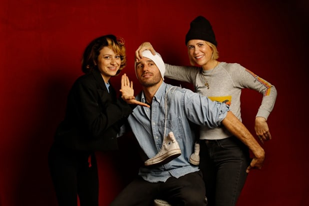 """Nasty Baby"" stars Alia Shawkat (l) and Kristen Wiig (r) with director Sebastian Silva, photographed by Patrick Fraser at TheWrap's Kia photobooth during the 2015 Sundance Film Festival in Park City, Utah on Jan. 23, 2015."
