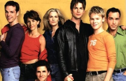 "From left, Peter Paige, Michelle Clunie, Hal Sparks, Thea Gill, Gale Harold,  Randy Harrison, Scott Lowell on Showtime's ""Queer as Folk"""