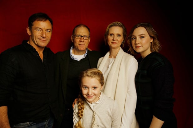 """Stockholm, Pennsylvania"" stars Jason Isaacs, David Warshofsky, Cynthia Nixon, Saoirse Ronan (back row, l-r)and Hana Hayse, photographed by Patrick Fraser at TheWrap's Kia photobooth during the 2015 Sundance Film Festival in Park City, Utah on Jan. 23, 2015."