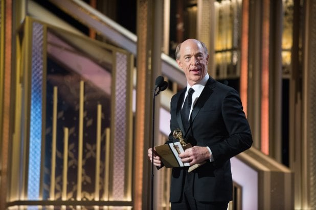 "J.K. Simmons accepts award at ""The 72nd Annual Golden Globe Awards"""