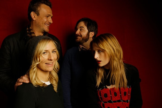 """The End of the Tour"" star Jason Segel, director James Ponsoldt (back row, l-r), Mickey Sumner and Mamie Gummer (front row, l-r), photographed by Patrick Fraser at TheWrap's Kia photobooth during the 2015 Sundance Film Festival in Park City, Utah on Jan. 23, 2015."