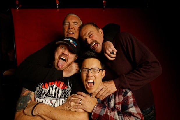"""The Resurrection of Jake the Snake Roberts"" stars Scott Hall, Jake ""The Snake"" Roberts (back row, l-r), ""Diamond"" Dallas Page and director Steve Yu (front row, l-r), photographed by Patrick Fraser at TheWrap's Kia photobooth during the 2015 Sundance Film Festival in Park City, Utah on Jan. 23, 2015."