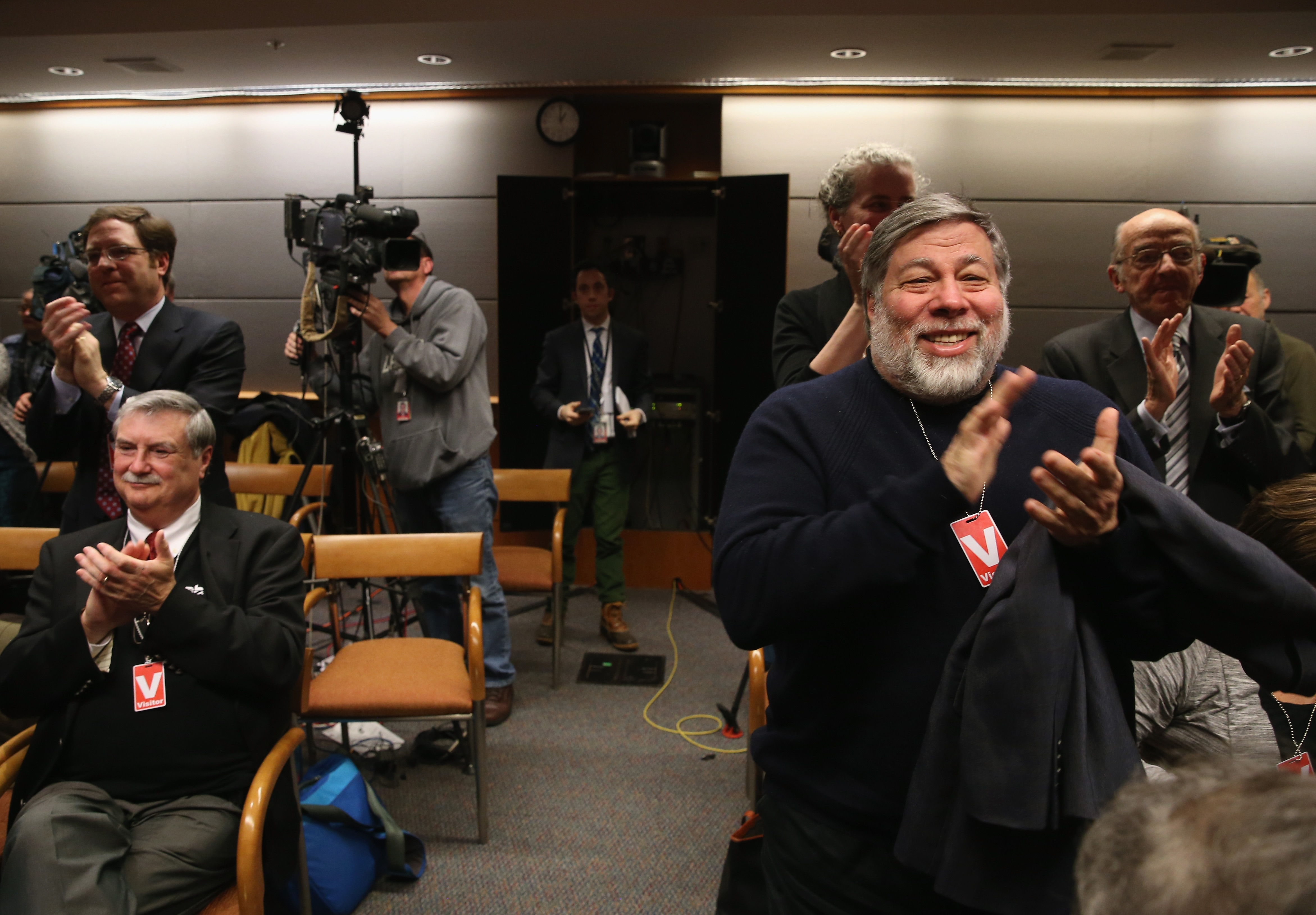 Apple Co-Founder Steve Wozniak (R) applauds FCC vote (Mark Wilson/Getty Images)