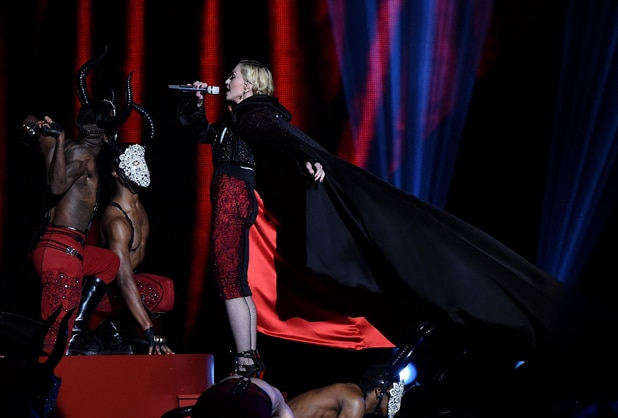 Madonna before she falls during BRIT Awards at London's O2 Arena, Feb. 25, 2015 (Gareth Cattermole/Getty Images)