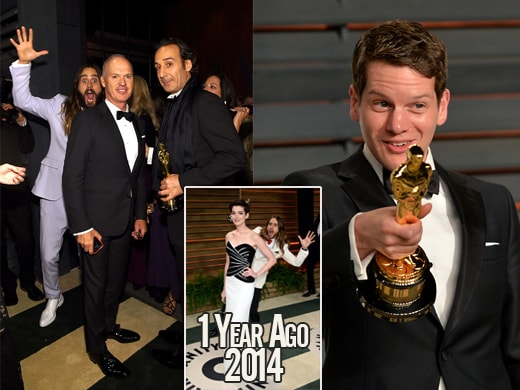 """Jared Leto is a recidivist photo-bomber. This year he hits Michael Keaton and """"Grand Budapest Hotel"""" winning composer Alexandre Desplat. At right, breakout Graham Moore bids it a good-night. (Getty Images)"""