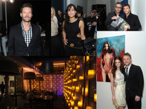 The scene at the Treats! Villa in Bel Air: Ryan Seacrest, Michelle Rodriguez,  founder Steve Shaw with Scott Eastwood, and Lydia Hearst poses in front of her cover and next to boyfriend Chris Hardwick. (Getty Images)