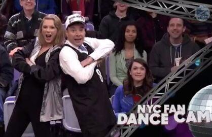 Taylor Swift Jimmy Fallon jumbotron dance