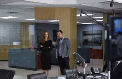 Sarah Rafferty and Patrick J. Adams/USA Network