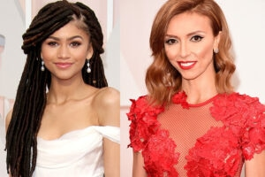 Zendaya and Giuliana Rancic are shown at the 2015 Academy Awards