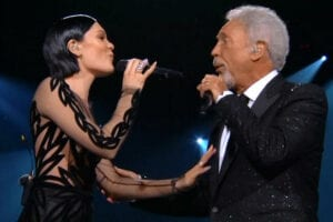 Jessie J and Tom Jones performing at the Grammys