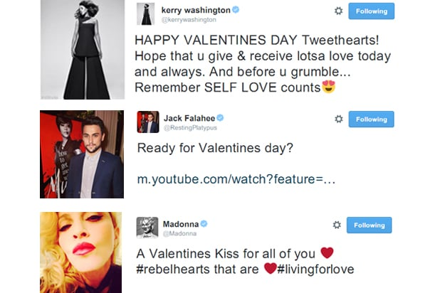 Kerry Washington, Jack Falahee, Madonna on Valentine's Day (Twitter)
