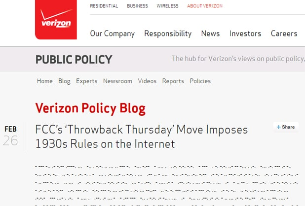 Verizon issues net neutrality response in Morse Code