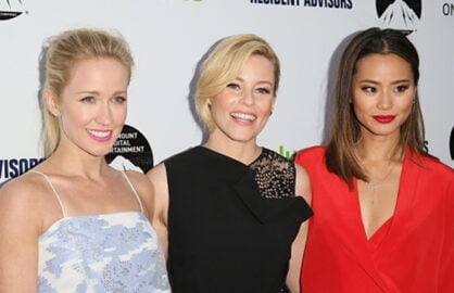"Anna Camp, Executive Producer Elizabeth Banks, and star Jamie Chung at the ""Resident Advisors"" premiere at Paramount on Tuesday night. (JB Lacroix/Getty Images)"