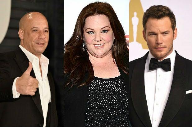 Vin Diesel, Melissa McCarthy, Chris Pratt