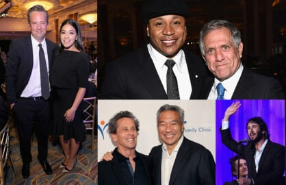 Matthew Perry, Gina Rodriguez, LL Cool J, honoree Les Moonves, and (bottom) Brian Grazer, Kevin Tsujihara, and singer  Josh Groban came together for the Venice Family Clinic at the Regent Beverly Wilshire on Monday night. (Getty Images)