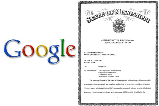 Google and State of Mississippi subpoena