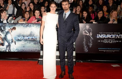 LONDON, ENGLAND - MARCH 11: Theo James and Shailene Woodley attend the World Premiere of 'Insurgent' at Odeon Leicester Square on March 11, 2015 in London, England. (Photo by Anthony Harvey/Getty Images)