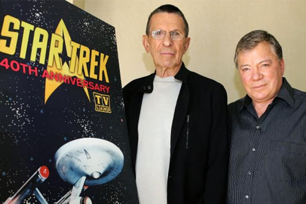 LOS ANGELES - AUGUST 9: Actors Leonard Nimoy (L) and William Shatner (R) promote the 'Star Trek' 40th Anniversary on the TV Land network at the Four Seasons hotel August 9, 2006 in Los Angeles, California. Episodes of the show will air September 8. (Photo by Frazer Harrison/Getty Images)
