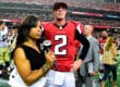 ATLANTA, GA - SEPTEMBER 07: Matt Ryan #2 of the Atlanta Falcons is interviewed by Pam Oliver after the game against the New Orleans Saints at the Georgia Dome on September 7, 2014 in Atlanta, Georgia. (Photo by Scott Cunningham/Getty Images)