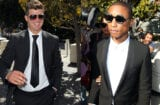 Robin Thicke and Pharrell Williams are seen outside the Roybal Federal Building on March 5, 2015 in Los Angeles, California. Thicke and co-writers of the song 'Blurred Lines' are being sued by the children of singer Marvin Gaye for using elements of Gaye's song 'Got to Give it Up' in 'Blurred Lines.' (Photo by David Buchan/Getty Images)