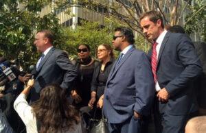 Attorney Richard Busch, Nona Gaye, her mom Jan, Marvin Gaye III and attorney Paul Philips (Pamela Chelin)