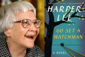 "Author Harper Lee with the cover of her second novel, ""Go Set a Watchman"" (Chip Somodevilla/Getty Images; HarperCollins)"