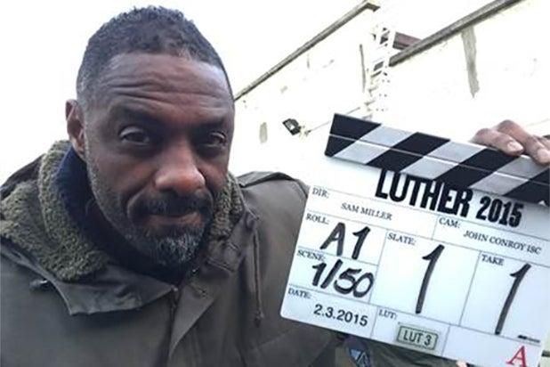 Idris Elba on the Luther 2015 set